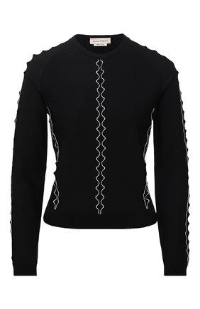 Женский пуловер ALEXANDER MCQUEEN черно-белого цвета, арт. 679408/Q1AW7 | Фото 1 (Рукава: Длинные; Материал внешний: Вискоза; Длина (для топов): Стандартные; Женское Кросс-КТ: Пуловер-одежда; Стили: Романтичный)
