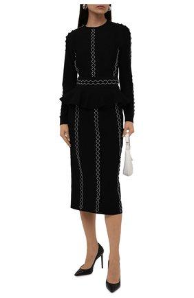 Женский пуловер ALEXANDER MCQUEEN черно-белого цвета, арт. 679408/Q1AW7 | Фото 2 (Рукава: Длинные; Материал внешний: Вискоза; Длина (для топов): Стандартные; Женское Кросс-КТ: Пуловер-одежда; Стили: Романтичный)