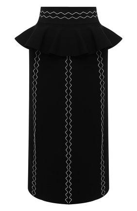 Женская юбка ALEXANDER MCQUEEN черного цвета, арт. 679406/Q1AW5   Фото 1 (Длина Ж (юбки, платья, шорты): Миди; Материал внешний: Вискоза; Женское Кросс-КТ: Юбка-одежда; Стили: Романтичный)