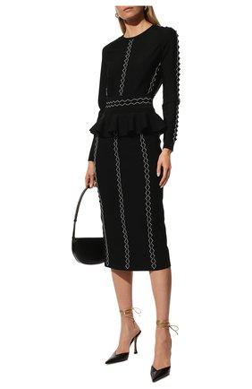 Женская юбка ALEXANDER MCQUEEN черного цвета, арт. 679406/Q1AW5   Фото 2 (Длина Ж (юбки, платья, шорты): Миди; Материал внешний: Вискоза; Женское Кросс-КТ: Юбка-одежда; Стили: Романтичный)