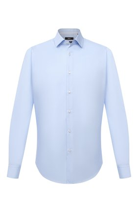 Мужская хлопковая сорочка BOSS голубого цвета, арт. 50454029 | Фото 1 (Материал внешний: Хлопок; Рукава: Длинные; Длина (для топов): Стандартные; Рубашки М: Regular Fit; Случай: Формальный; Манжеты: На пуговицах; Воротник: Кент; Принт: Однотонные; Стили: Классический)