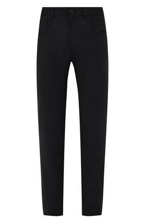 Мужские шерстяные брюки CANALI темно-серого цвета, арт. V1551/AR03472 | Фото 1 (Материал внешний: Шерсть; Случай: Повседневный; Стили: Кэжуэл; Длина (брюки, джинсы): Стандартные)