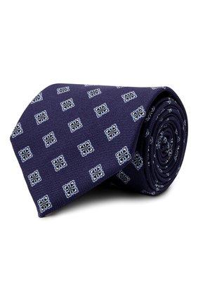 Мужской шелковый галстук BRIONI темно-синего цвета, арт. 062I00/P0432 | Фото 1 (Материал: Шелк, Текстиль; Принт: С принтом)