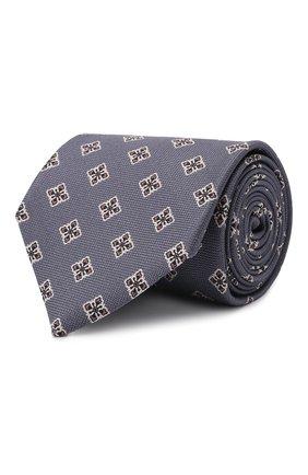 Мужской шелковый галстук BRIONI серого цвета, арт. 062I00/P0432 | Фото 1 (Материал: Шелк, Текстиль; Принт: С принтом)
