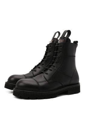 Мужские кожаные ботинки DOLCE & GABBANA черного цвета, арт. A60380/A0953 | Фото 1 (Подошва: Массивная; Материал внутренний: Натуральная кожа; Мужское Кросс-КТ: Ботинки-обувь, Байкеры-обувь)