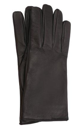 Мужские кожаные перчатки BURBERRY черного цвета, арт. 8046011 | Фото 1 (Мужское Кросс-КТ: Кожа и замша)