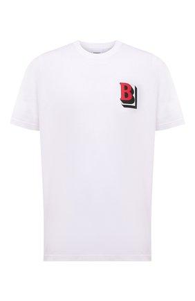 Мужская хлопковая футболка BURBERRY белого цвета, арт. 8045495 | Фото 1 (Длина (для топов): Стандартные; Материал внешний: Хлопок; Рукава: Короткие; Принт: С принтом)