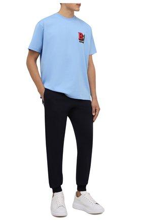 Мужская хлопковая футболка BURBERRY голубого цвета, арт. 8045494 | Фото 2 (Длина (для топов): Стандартные; Материал внешний: Хлопок; Рукава: Короткие; Принт: С принтом)