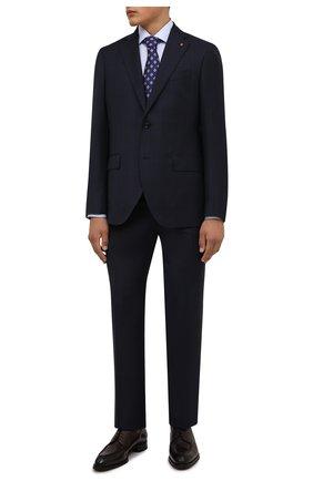 Мужской шерстяной костюм SARTORIA LATORRE темно-синего цвета, арт. A6I7EF QA0944 | Фото 1 (Рукава: Длинные; Материал подклада: Купро; Материал внешний: Шерсть; Костюмы М: Однобортный; Стили: Классический)