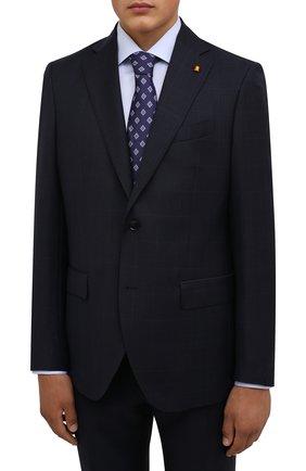 Мужской шерстяной костюм SARTORIA LATORRE темно-синего цвета, арт. A6I7EF QA0944 | Фото 2 (Рукава: Длинные; Материал подклада: Купро; Материал внешний: Шерсть; Костюмы М: Однобортный; Стили: Классический)