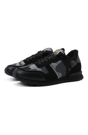Мужские комбинированные кроссовки rockrunner VALENTINO черного цвета, арт. WY2S0723/LBY   Фото 1 (Материал внутренний: Текстиль; Стили: Гранж; Подошва: Массивная)