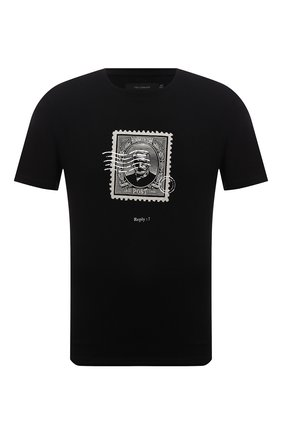 Мужская хлопковая футболка TEE LIBRARY черного цвета, арт. TFK-TS-43 | Фото 1 (Рукава: Короткие; Длина (для топов): Стандартные; Материал внешний: Хлопок; Принт: С принтом)