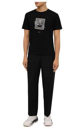Мужская хлопковая футболка TEE LIBRARY черного цвета, арт. TFK-TS-43 | Фото 2 (Рукава: Короткие; Длина (для топов): Стандартные; Материал внешний: Хлопок; Принт: С принтом)