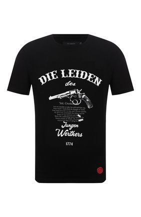 Мужская хлопковая футболка TEE LIBRARY черного цвета, арт. TFK-TS-41 | Фото 1 (Длина (для топов): Стандартные; Рукава: Короткие; Материал внешний: Хлопок; Принт: С принтом)