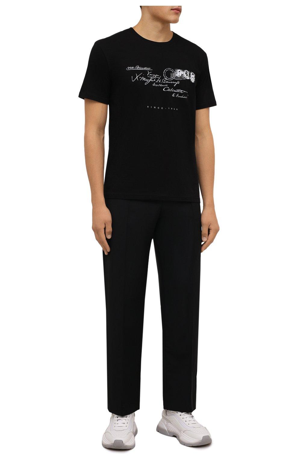 Мужская хлопковая футболка TEE LIBRARY черного цвета, арт. TFK-TS-39 | Фото 2 (Рукава: Короткие; Длина (для топов): Стандартные; Принт: С принтом; Материал внешний: Хлопок)