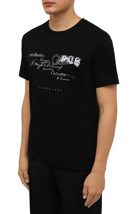 Мужская хлопковая футболка TEE LIBRARY черного цвета, арт. TFK-TS-39 | Фото 3 (Рукава: Короткие; Длина (для топов): Стандартные; Принт: С принтом; Материал внешний: Хлопок)