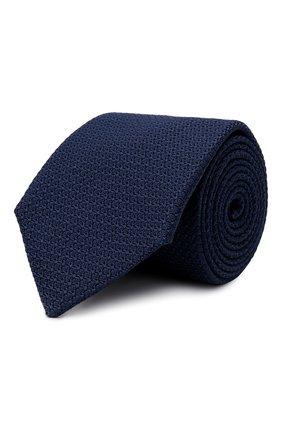 Мужской шелковый галстук LANVIN темно-синего цвета, арт. 1208/TIE | Фото 1 (Материал: Текстиль, Шелк; Принт: Без принта)