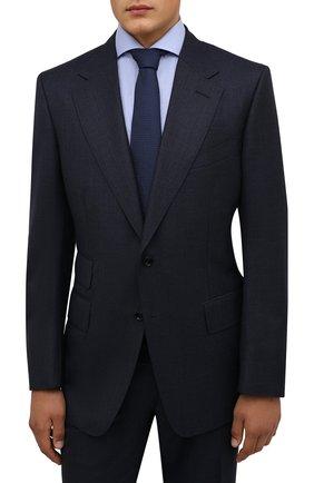 Мужской шелковый галстук LANVIN темно-синего цвета, арт. 1208/TIE | Фото 2 (Материал: Текстиль, Шелк; Принт: Без принта)