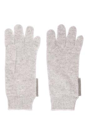 Детские кашемировые перчатки BRUNELLO CUCINELLI светло-серого цвета, арт. B12M14589B   Фото 2 (Материал: Шерсть, Кашемир)