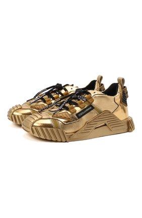 Детские кожаные кроссовки DOLCE & GABBANA золотого цвета, арт. D11021/A0228/29-36   Фото 1 (Материал внутренний: Текстиль, Натуральная кожа)