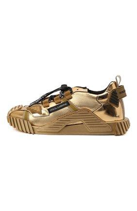 Детские кожаные кроссовки DOLCE & GABBANA золотого цвета, арт. D11021/A0228/29-36   Фото 2 (Материал внутренний: Текстиль, Натуральная кожа)