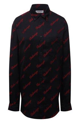 Женская рубашка из вискозы BALENCIAGA черного цвета, арт. 658956/TK052 | Фото 1 (Материал внешний: Вискоза; Рукава: Длинные; Длина (для топов): Удлиненные; Женское Кросс-КТ: Рубашка-одежда; Принт: С принтом; Стили: Гранж)