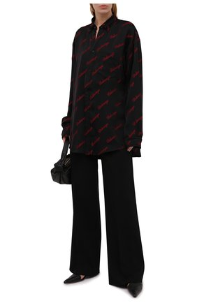 Женская рубашка из вискозы BALENCIAGA черного цвета, арт. 658956/TK052 | Фото 2 (Материал внешний: Вискоза; Рукава: Длинные; Длина (для топов): Удлиненные; Женское Кросс-КТ: Рубашка-одежда; Принт: С принтом; Стили: Гранж)