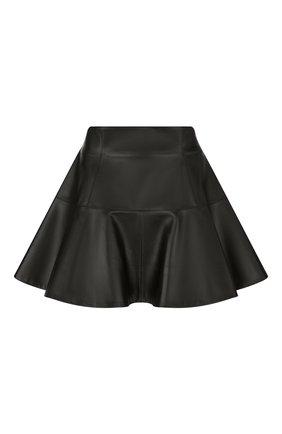 Женская кожаная юбка DIOR черного цвета, арт. 155J19AL015X9000   Фото 1 (Женское Кросс-КТ: Юбка-одежда; Длина Ж (юбки, платья, шорты): Мини; Стили: Гранж)