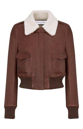 Женская кожаная куртка DIOR коричневого цвета, арт. 158C70AL800X7680   Фото 1 (Кросс-КТ: Куртка; Длина (верхняя одежда): Короткие; Рукава: Длинные; Женское Кросс-КТ: Замша и кожа; Стили: Кэжуэл)