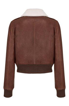 Женская кожаная куртка DIOR коричневого цвета, арт. 158C70AL800X7680   Фото 2 (Кросс-КТ: Куртка; Длина (верхняя одежда): Короткие; Рукава: Длинные; Женское Кросс-КТ: Замша и кожа; Стили: Кэжуэл)