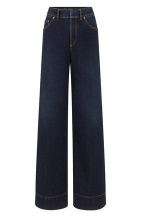 Женские джинсы DIOR синего цвета, арт. 152P41A3394X5651   Фото 1 (Материал внешний: Хлопок; Кросс-КТ: Деним; Силуэт Ж (брюки и джинсы): Расклешенные; Длина (брюки, джинсы): Удлиненные; Стили: Кэжуэл)