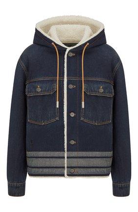 Женская джинсовая куртка DIOR синего цвета, арт. 152V04A3394X5651   Фото 1 (Материал внешний: Хлопок; Материал утеплителя: Шерсть; Кросс-КТ: Куртка, Деним; Длина (верхняя одежда): Короткие; Рукава: Длинные; Стили: Спорт-шик)