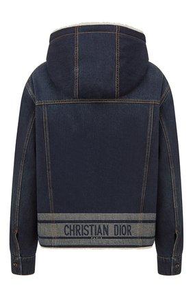 Женская джинсовая куртка DIOR синего цвета, арт. 152V04A3394X5651   Фото 2 (Материал внешний: Хлопок; Материал утеплителя: Шерсть; Кросс-КТ: Куртка, Деним; Длина (верхняя одежда): Короткие; Рукава: Длинные; Стили: Спорт-шик)