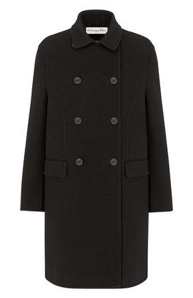 Женское шерстяное пальто DIOR черного цвета, арт. 150M19A1375X9000   Фото 1 (Материал внешний: Шерсть; 1-2-бортные: Двубортные; Рукава: Длинные; Длина (верхняя одежда): До колена; Стили: Кэжуэл)