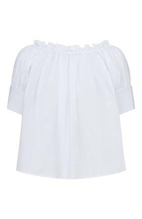 Женская хлопковая блузка DIOR белого цвета, арт. 151B70A3356X0100 | Фото 1 (Материал внешний: Хлопок; Женское Кросс-КТ: Блуза-одежда; Стили: Кэжуэл; Принт: Без принта; Рукава: Короткие)
