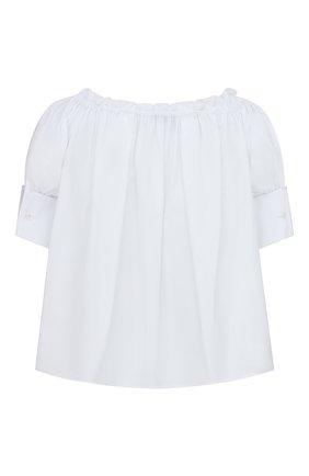 Женская хлопковая блузка DIOR белого цвета, арт. 151B70A3356X0100 | Фото 2 (Материал внешний: Хлопок; Женское Кросс-КТ: Блуза-одежда; Стили: Кэжуэл; Принт: Без принта; Рукава: Короткие)