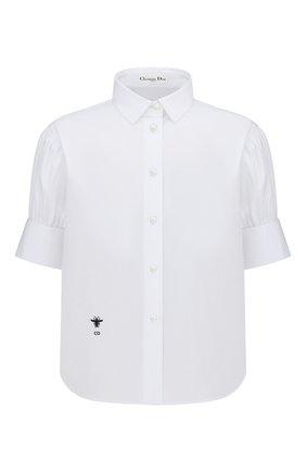 Женская хлопковая рубашка DIOR белого цвета, арт. 151B77A3356X0100 | Фото 1 (Материал внешний: Хлопок; Женское Кросс-КТ: Рубашка-одежда; Стили: Кэжуэл; Принт: Без принта; Рукава: Короткие)