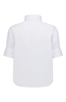 Женская хлопковая рубашка DIOR белого цвета, арт. 151B77A3356X0100 | Фото 2 (Материал внешний: Хлопок; Женское Кросс-КТ: Рубашка-одежда; Стили: Кэжуэл; Принт: Без принта; Рукава: Короткие)