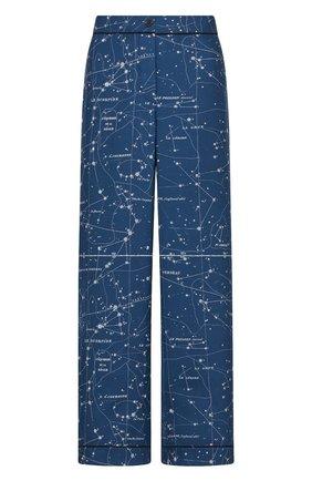 Женские шелковые брюки DIOR синего цвета, арт. 151P38A6842X5831   Фото 1 (Материал внешний: Шелк; Женское Кросс-КТ: Брюки-одежда; Силуэт Ж (брюки и джинсы): Прямые; Стили: Романтичный; Длина (брюки, джинсы): Стандартные)