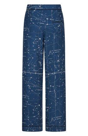 Женские шелковые брюки DIOR синего цвета, арт. 151P38A6842X5831   Фото 2 (Материал внешний: Шелк; Женское Кросс-КТ: Брюки-одежда; Силуэт Ж (брюки и джинсы): Прямые; Стили: Романтичный; Длина (брюки, джинсы): Стандартные)