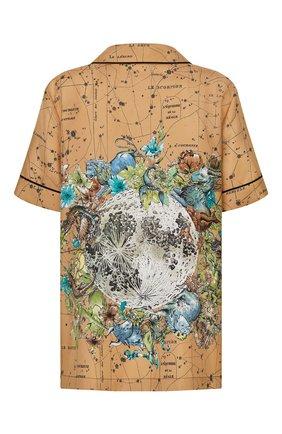 Женская шелковая рубашка DIOR бежевого цвета, арт. 151V29A6842X1831   Фото 2 (Материал внешний: Шелк; Женское Кросс-КТ: Рубашка-одежда; Принт: С принтом; Стили: Кэжуэл; Рукава: Короткие)