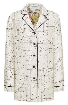 Женская шелковая рубашка DIOR белого цвета, арт. 151V33A6842X0831 | Фото 1 (Материал внешний: Шелк; Женское Кросс-КТ: Рубашка-одежда; Принт: С принтом; Стили: Кэжуэл; Рукава: Длинные)
