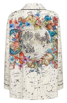 Женская шелковая рубашка DIOR белого цвета, арт. 151V33A6842X0831 | Фото 2 (Материал внешний: Шелк; Женское Кросс-КТ: Рубашка-одежда; Принт: С принтом; Стили: Кэжуэл; Рукава: Длинные)