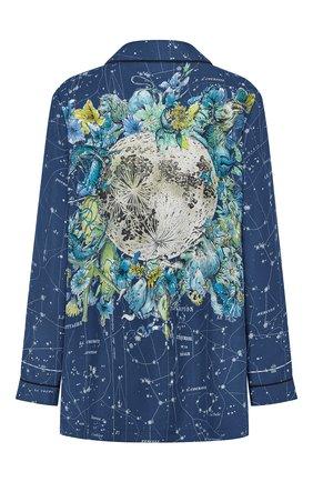 Женская шелковая рубашка DIOR синего цвета, арт. 151V33A6842X5831   Фото 2 (Материал внешний: Шелк; Женское Кросс-КТ: Рубашка-одежда; Принт: С принтом; Стили: Кэжуэл; Рукава: Длинные)