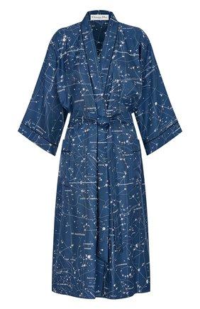 Женский шелковый халат DIOR синего цвета, арт. 151V35A6842X5831   Фото 1 (Материал внешний: Шелк)