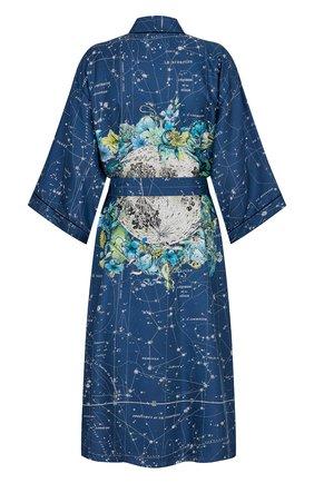 Женский шелковый халат DIOR синего цвета, арт. 151V35A6842X5831   Фото 2 (Материал внешний: Шелк)