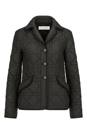 Женская стеганая куртка DIOR черного цвета, арт. 157V38A2827X9000   Фото 1 (Материал внешний: Синтетический материал; Кросс-КТ: Куртка; Рукава: Длинные; Длина (верхняя одежда): Короткие; Стили: Кэжуэл)