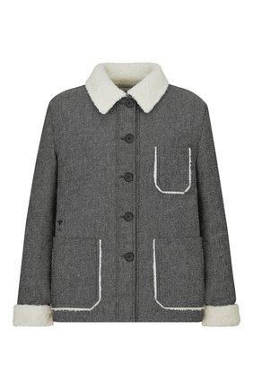 Женская хлопковая куртка DIOR серого цвета, арт. 157V54A3439X8876   Фото 1 (Материал внешний: Хлопок; Кросс-КТ: Куртка; Рукава: Длинные; Длина (верхняя одежда): Короткие; Стили: Кэжуэл, Милитари)