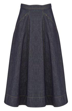 Женская джинсовая юбка DIOR синего цвета, арт. 152J21A3440X5712   Фото 1 (Материал внешний: Хлопок; Женское Кросс-КТ: Юбка-одежда; Длина Ж (юбки, платья, шорты): Миди; Кросс-КТ: Деним; Стили: Кэжуэл)
