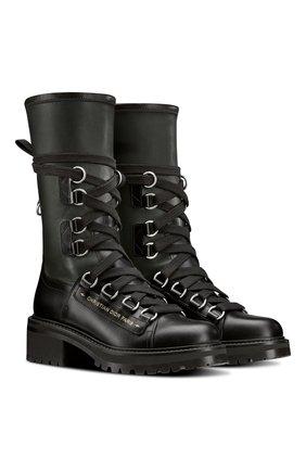 Женские кожаные ботинки d-fight DIOR черного цвета, арт. KCI694XLCS20X   Фото 2 (Женское Кросс-КТ: Военные ботинки)
